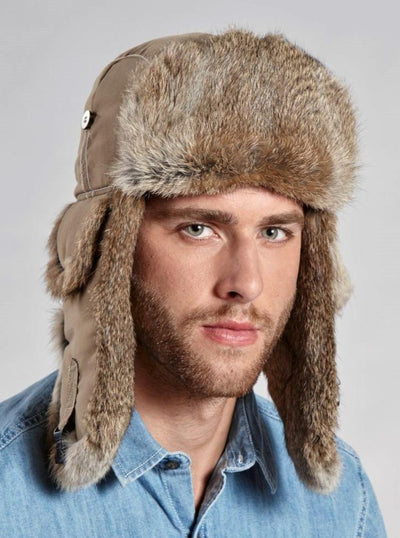 Jonathan Men's Beige Rabbit Trapper Hat - The Fur Store