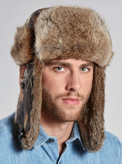 Lincoln Camo Men's Brown Rabbit Trapper Hat - The Fur Store