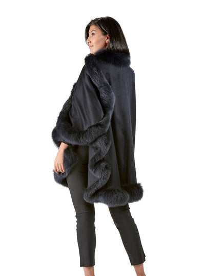 Grace Navy 100% Cashmere with Blue Fox Trim Cape - The Fur Store