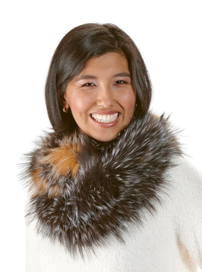 Adele Silver Gold Knitted Fox Infinity Scarf - The Fur Store