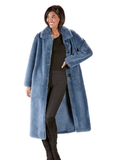 Reversible Blue Teddy Bear Wool Coat - The Fur Store