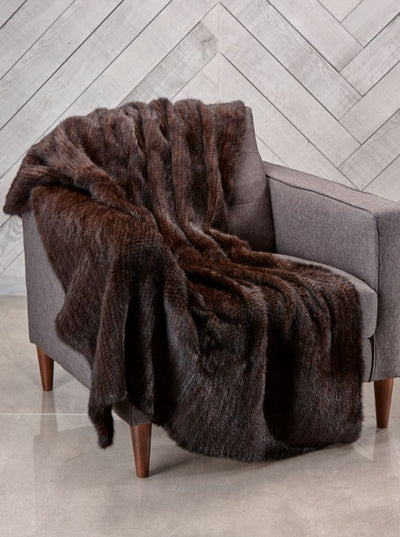 Carmen Knitted Mahogany Mink Fur Blanket - The Fur Store