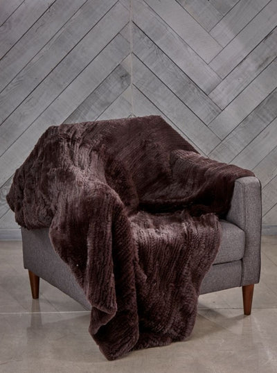 Megan Brown Rex Rabbit Fur Blanket - The Fur Store