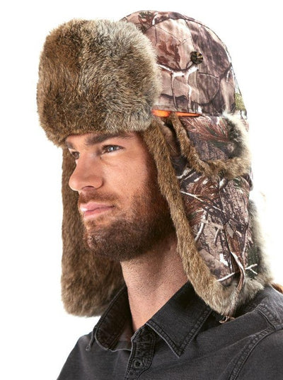 Hunting Camo Brown Rabbit Trapper Hat - The Fur Store