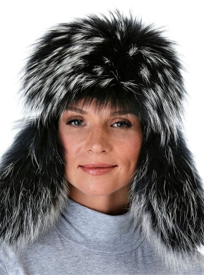 Lucia Black Raccoon Trapper Hat with Leather - The Fur Store
