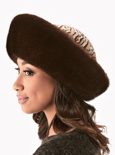Christina Brown Mink Hat with Feather Crown - The Fur Store