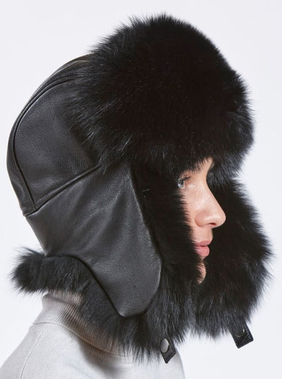 Judith Woman's Black Fox with Leather Trapper Hat - The Fur Store