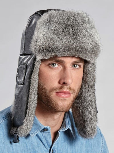 Andrew Men's Rabbit Fur Trapper Hat with Leather - The Fur Store