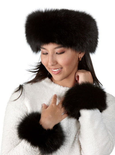 Maria Black Fox Headband - The Fur Store