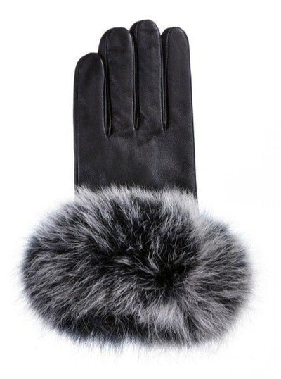 Women's Black Leather Gloves with Fox Trim - The Fur Store