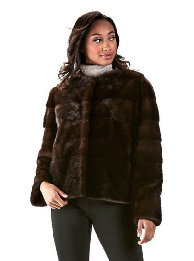Lisette Mahogany Mink Jacket - The Fur Store