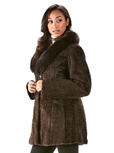 Trixie Brown Grooved Rex Rabbit Jacket with Brown Fox Collar - The Fur Store