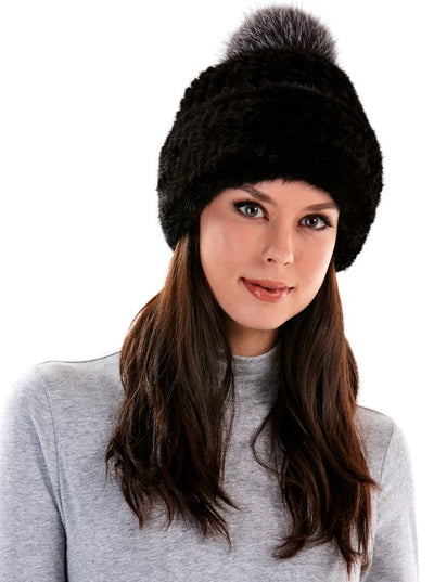 Arianne Black Knitted Mink Hat with Fox Pom Pom - The Fur Store
