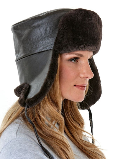 Harper Women's Brown Sheared Beaver with Leather Hat - The Fur Store