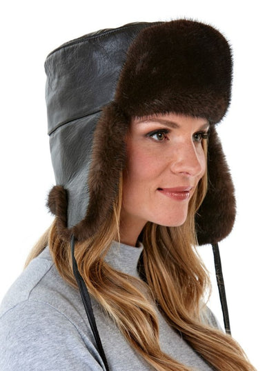Jesse Women's Mahogany Mink with Leather Trapper Hat - The Fur Store