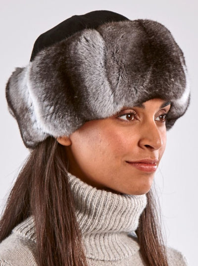 Julia Chinchilla Hat with Black Swede Crown - The Fur Store