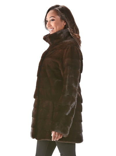 Alberta Mahogany Mink Jacket - The Fur Store
