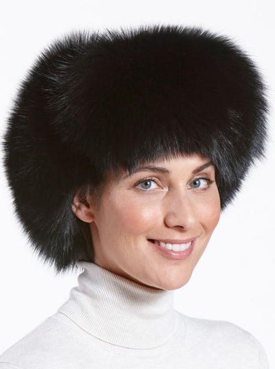 Cameron Women's Black Fox Leather Trapper Hat - The Fur Store