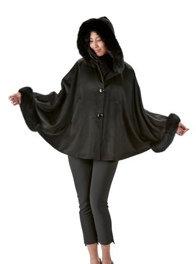 Etta Black 100% Cashmere Cape Black Fox Trim Hood - The Fur Store