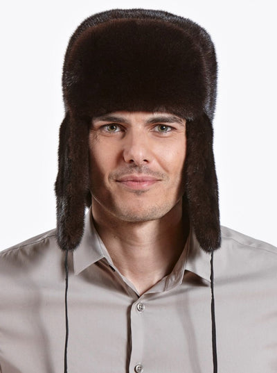 Avery Men's Mahogany Mink Trapper Hat - The Fur Store