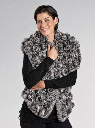 Leona Chinchilla Knitted Fur Shawl - The Fur Store