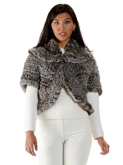 Doreen Chinchilla Knitted Fur Capelet - The Fur Store