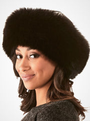 Emma Women's Black Fox Hat with Leather Top
