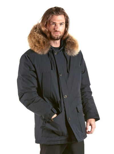 Austin Men's Navy Parka with Raccoon Hood Trim - The Fur Store