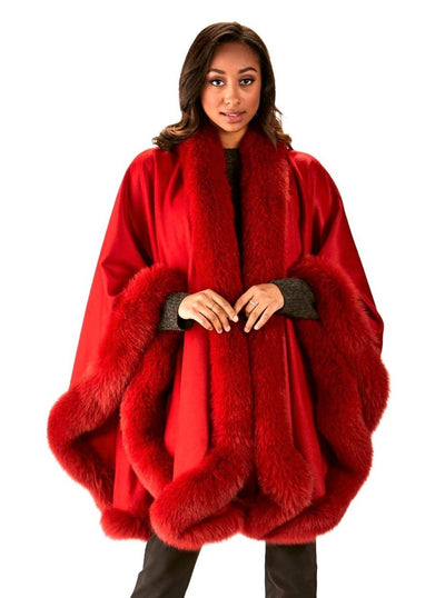 Grace Red 100% Cashmere with Red Fox Trim Cape - The Fur Store