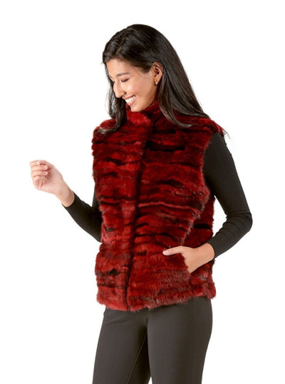 Clementina Red Multi Color Mink Vest - The Fur Store