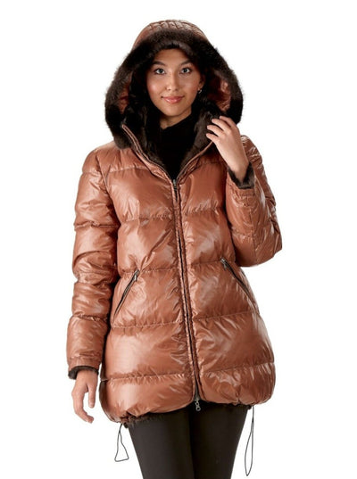 Evie Reversible Brown Mink Jacket with Hood - The Fur Store
