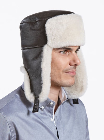 Jordan Dark Brown Russian Ushanka Shearling Hat - The Fur Store