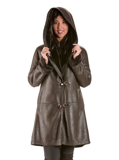 Adela Brown Shearling Jacket with Hood - The Fur Store