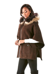 Eloise Brown Shearling Poncho with Raccoon Hood