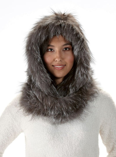 Delia Silver Fox Knitted Fur Hood and Infinity Scarf - The Fur Store
