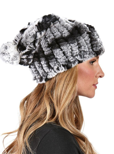 Vera Chinchilla Dyed Knitted Rex Rabbit Beanie Hat - The Fur Store