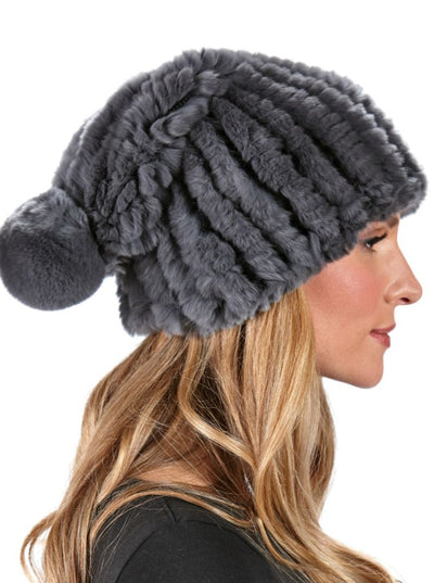 Vera Grey Knitted Rex Rabbit Beanie Hat - The Fur Store