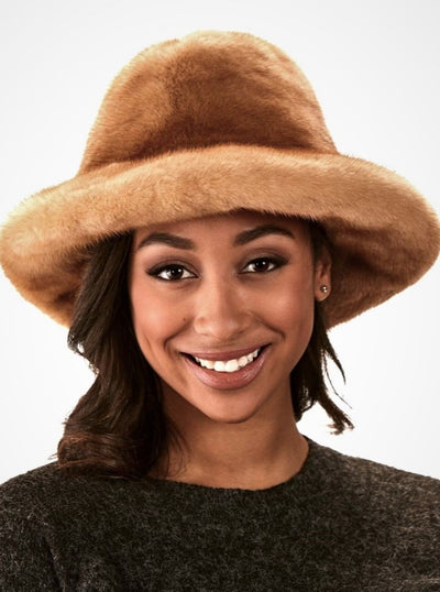 James Women's Whiskey Fedora Mink Hat - The Fur Store