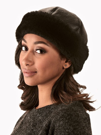 Copy of Sydney Black Women's Shearling Hat - The Fur Store