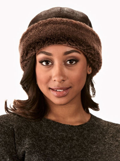 Sydney Brown Women's Shearling Hat - The Fur Store