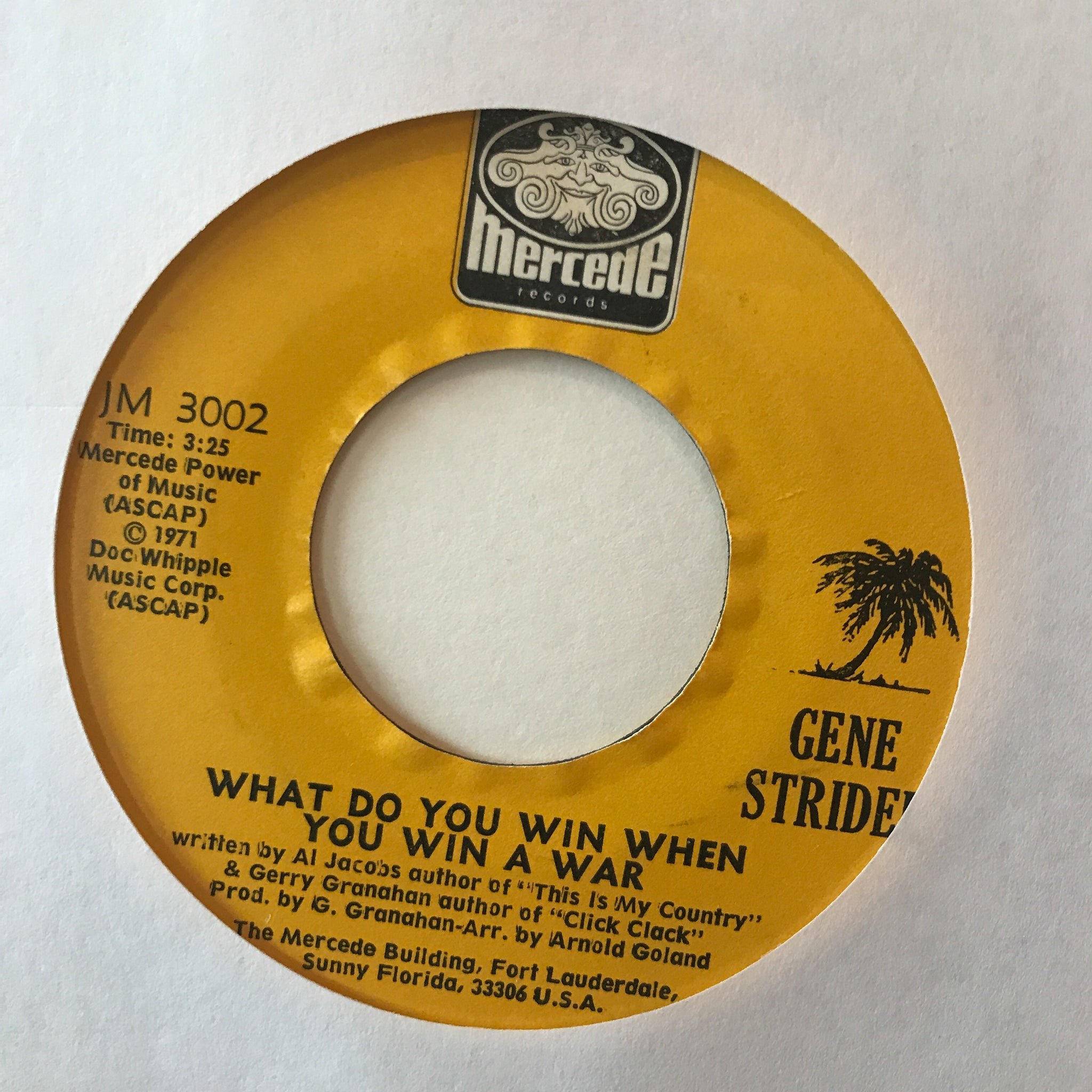 Gene Stridel ‎– What Do You Win When You Win A War / Pax