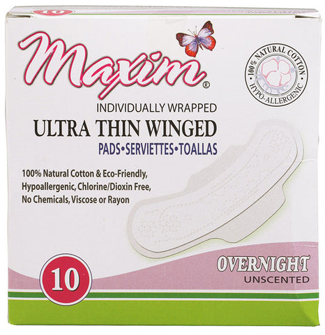 Maxim Hygiene Products Natural Cotton Ultra Thin Winged Pads Overnight