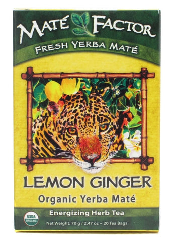 The Mate Factor Organic Lemon Ginger Yerba Mate Tea Bags
