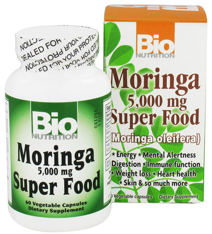 BIO NUTRITION - Moringa 5000 mg Super Food - 60 Vegetarian Capsules