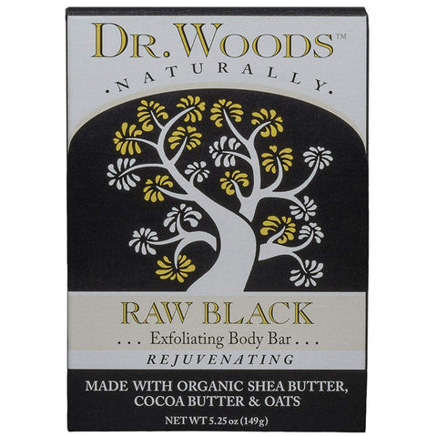DR. WOODS - Raw Black Exfoliating Body Bar with Organic Shea Butter