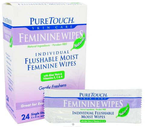 Puretouch Skin Care - Wipes,Feminine,Flushable Pack Of 3