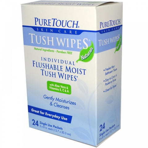 Puretouch Skin Care - Puretouch Tush Wipes Flushable -- 24 Wipes