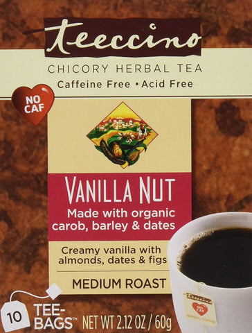 Teeccino -  Caffeine-Free Herbal Coffee, Vanilla Nut, 10-Count Tea Bags (Pack Of 6)