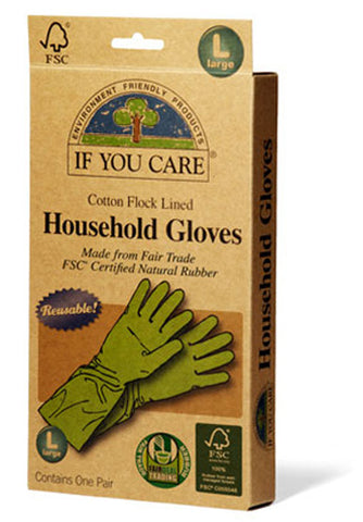 If You Care - Household Gloves Latex Cotton Flock Lined Large