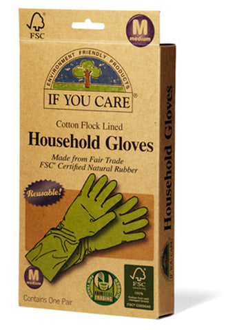 If You Care - Household Gloves Latex Cotton Flock Lined Medium